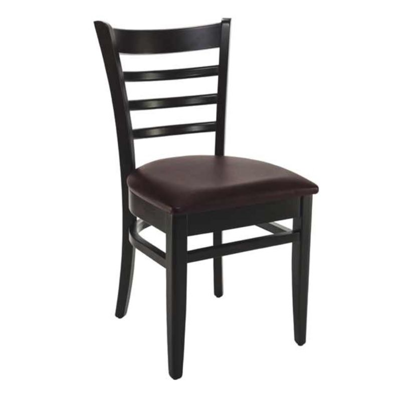Chaise bistro en bois hêtre avec assise tapissée simili cuir marron (photo)