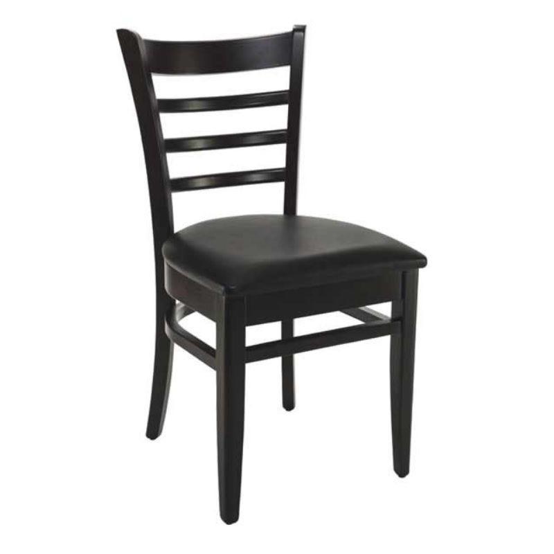 Chaise bistro en bois hêtre avec assise tapissée simili cuir noire (photo)