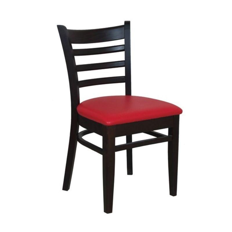 Chaise bistro en bois hêtre avec assise tapissée simili cuir rouge (photo)