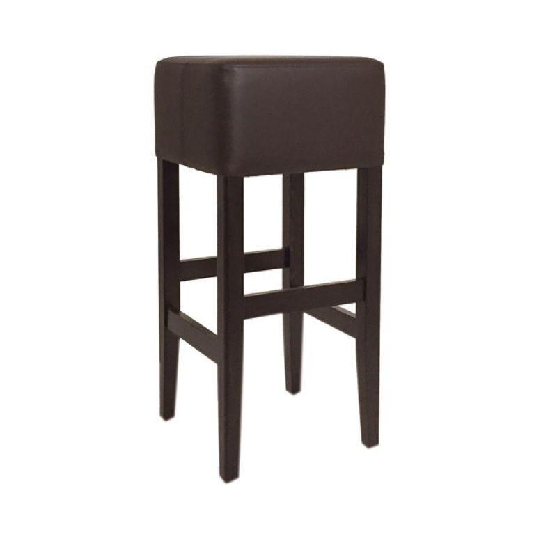 Tabouret de bar en bois sur 4 pieds avec assise carrée tapissée coloris marron (photo)