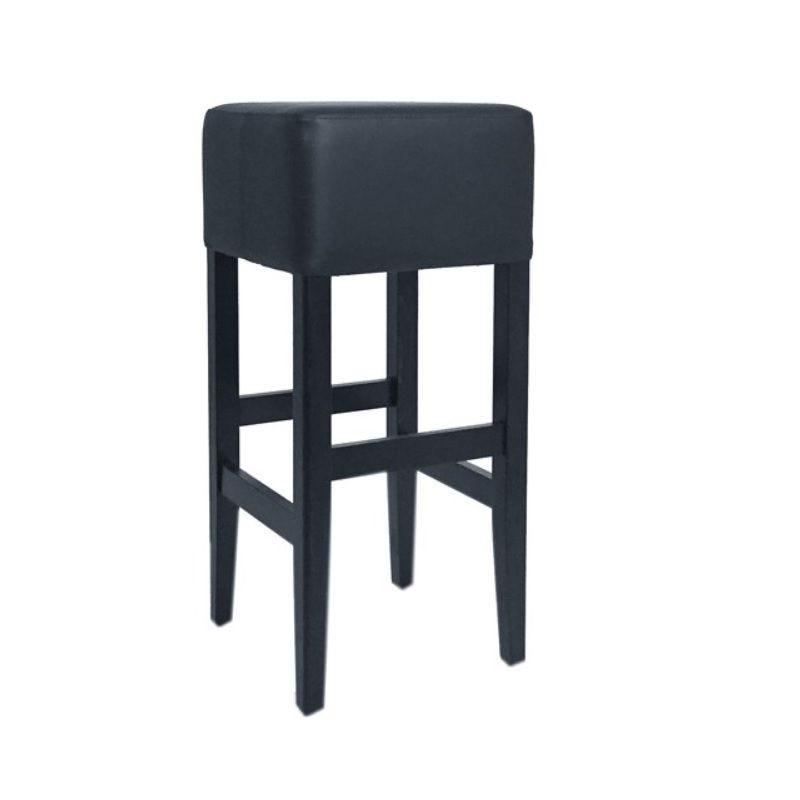 Tabouret de bar en bois sur 4 pieds avec assise carrée tapissée coloris noir (photo)