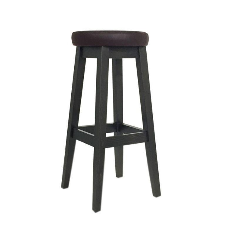 Tabouret de bar à hauteur fixe 4 pieds tapissé assise ronde simili cuir marron (photo)
