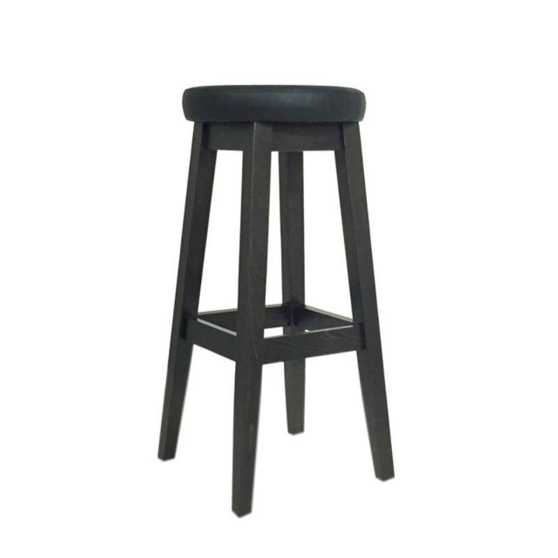 Tabouret de bar à hauteur fixe 4 pieds tapissé assise ronde simili cuir noir (photo)