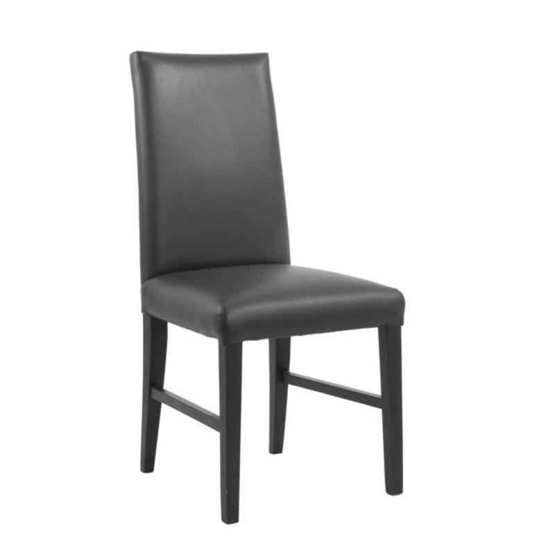 Chaise de restaurant avec dossier haut en bois hêtre simili cuir coloris noir (photo)