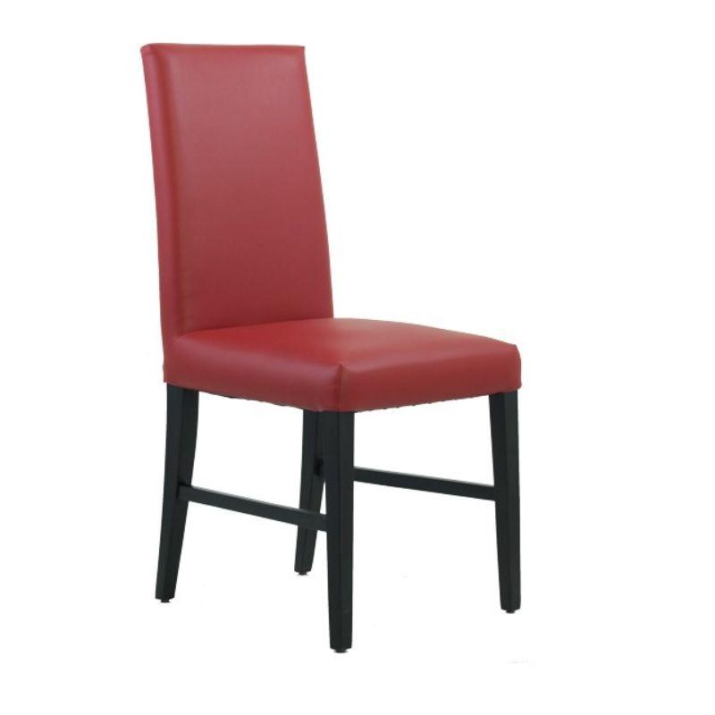 Chaise de restaurant avec dossier haut en bois hêtre simili cuir coloris rouge (photo)