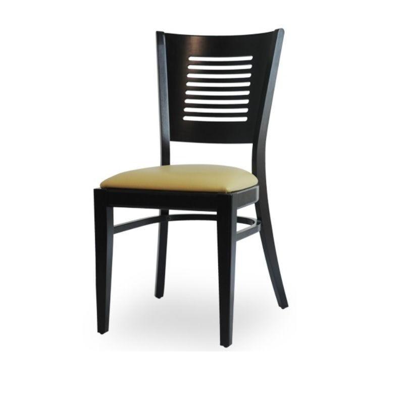 Chaise d'intérieur en bois avec assise rembourré en simili cuir beige (photo)
