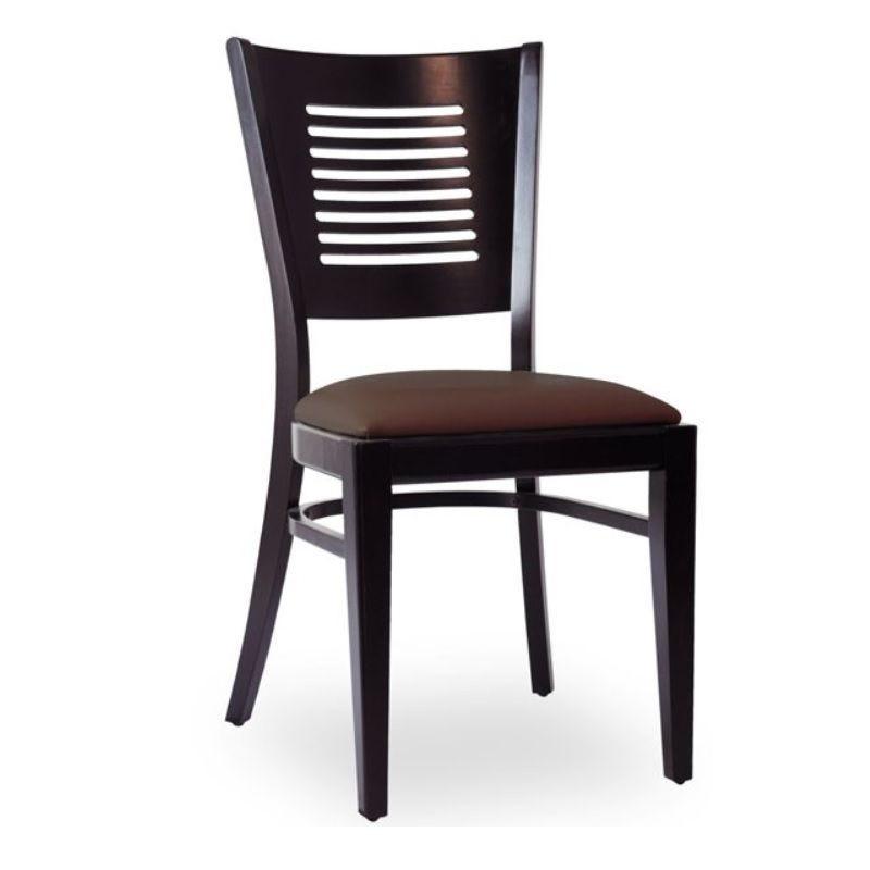 Chaise d'intérieur en bois avec assise rembourré en simili cuir marron (photo)