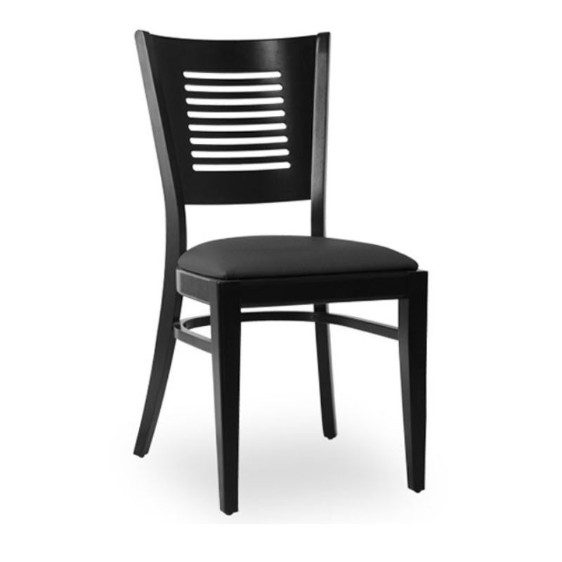 Chaise d'intérieur en bois avec assise rembourré en simili cuir noir (photo)