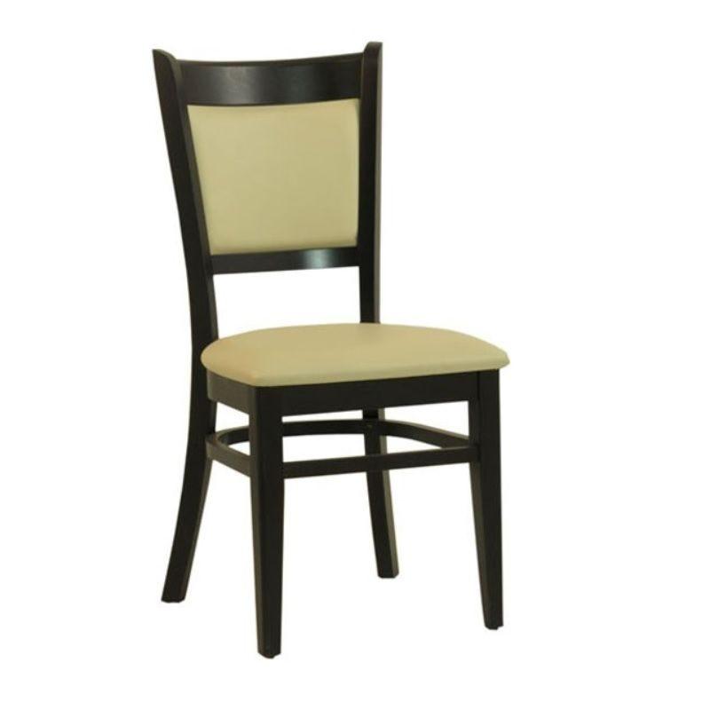 Chaise en bois avec assise et dossier rembourrés en simili cuir coloris beige (photo)
