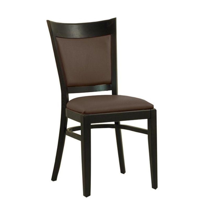Chaise en bois avec assise et dossier rembourrés en simili cuir coloris marron (photo)