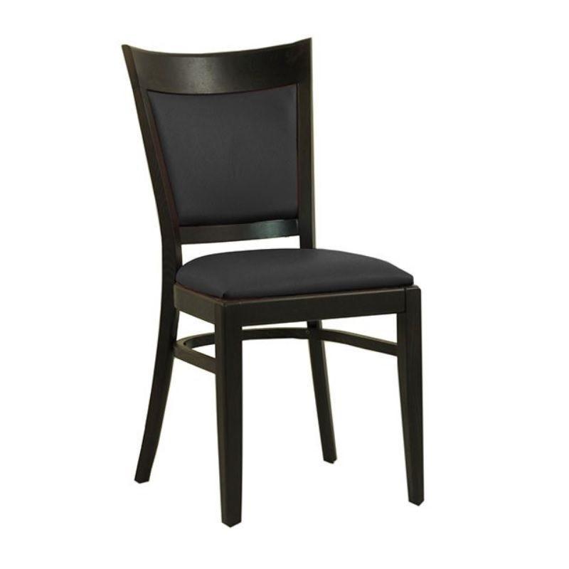 Chaise en bois avec assise et dossier rembourrés en simili cuir coloris noir (photo)