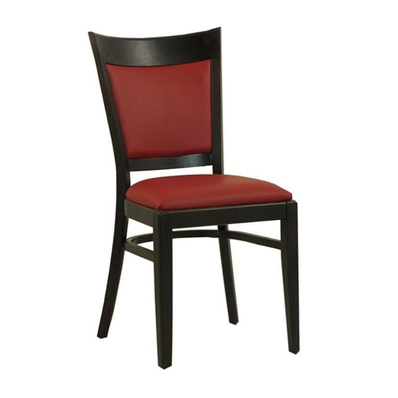 Chaise en bois avec assise et dossier rembourrés en simili cuir coloris rouge (photo)