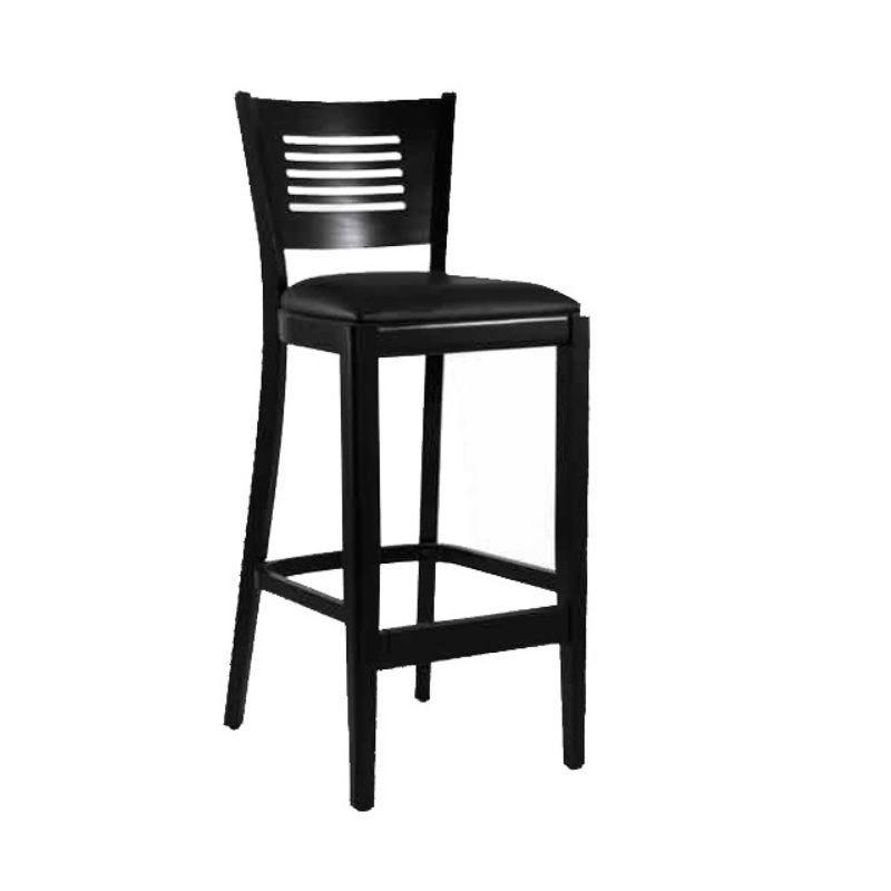 Chaise de bar haute en bois avec dossier et assise tapissée simili cuir noire (photo)