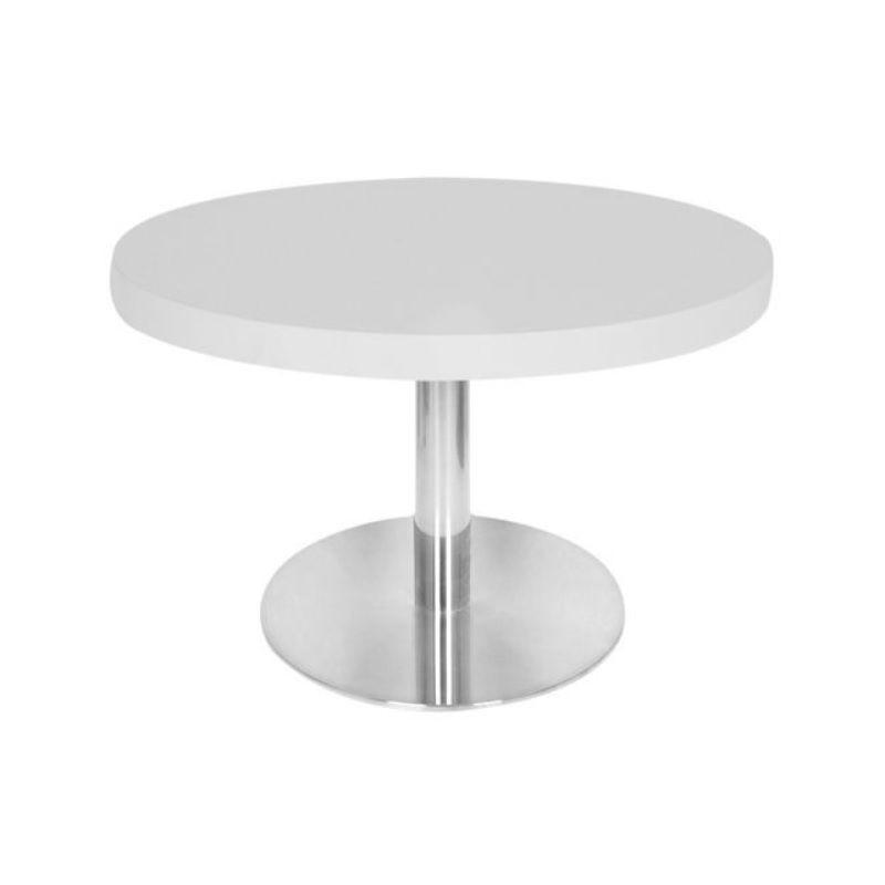 Table basse avec plateau de table rond diamètre 60 cm blanc et pied inox h.48 cm