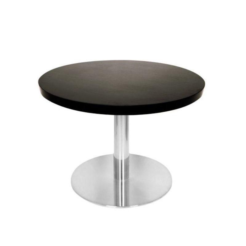 Table basse avec plateau de table rond diamètre 60 cm noir et pied inox h.48 cm