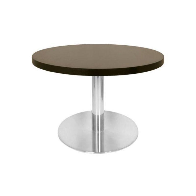 Table basse avec plateau rond diamètre 60 cm wengé et pied inox 48 cm de hauteur