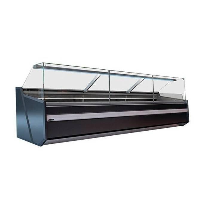 Vitrine comptoir avec réserve froid ventilé noire  1m30 profondeur 86 cm (photo)