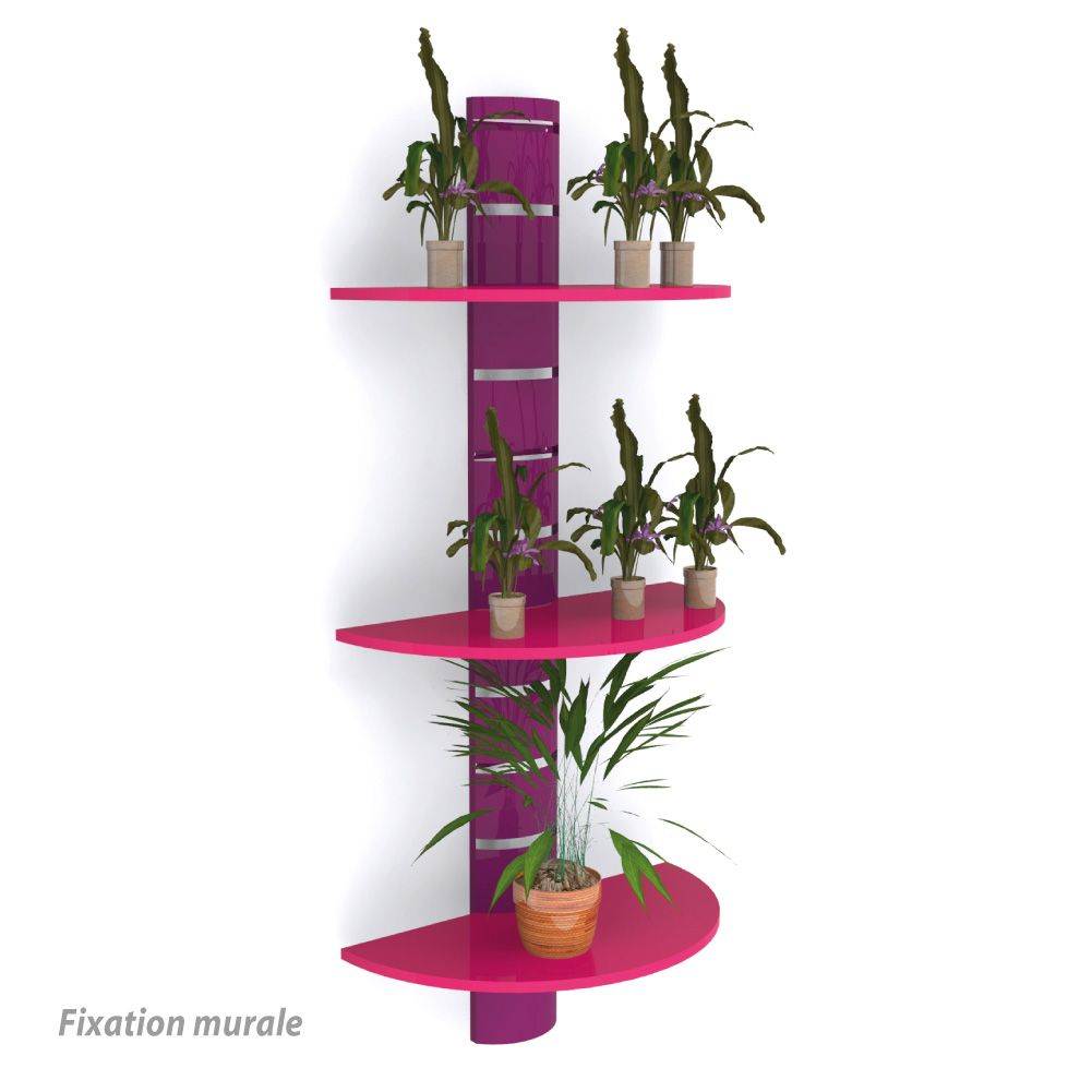 Colonne murale + 3 tablettes 800 mm - violet + rose - par 2 (photo)