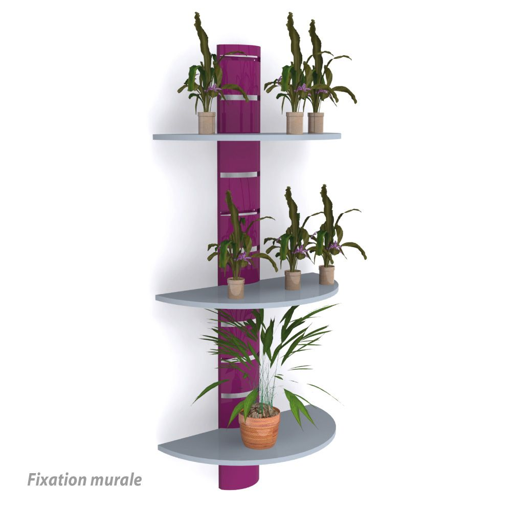 Colonne murale + 3 tablettes 800 mm - violet + gris - par 4 (photo)