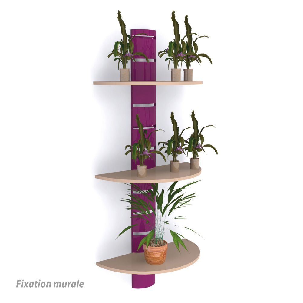 Colonne murale + 3 tablettes 800 mm - violet + beige (photo)
