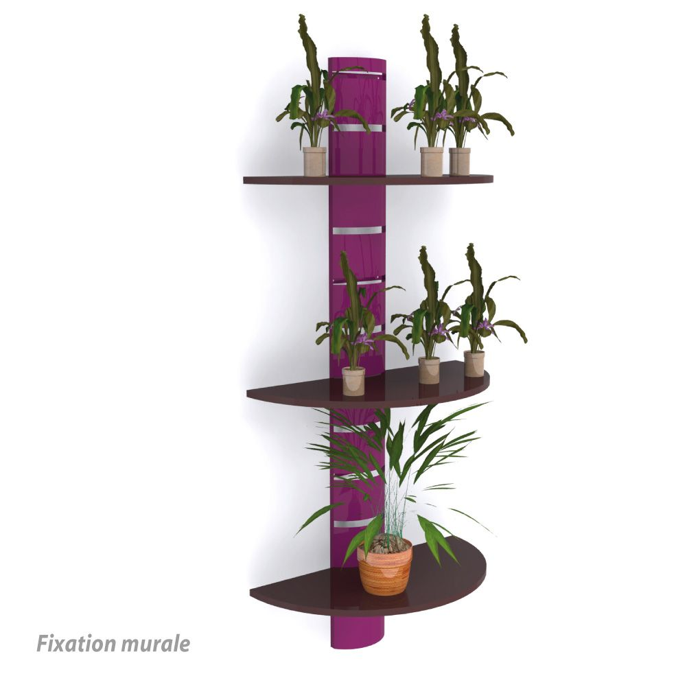 Colonne murale + 3 tablettes 800 mm – violet + marron - par 4 (photo)