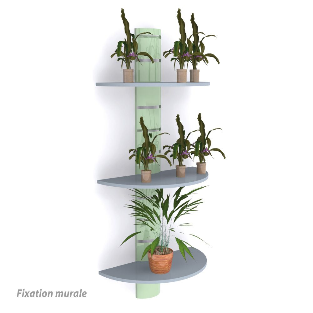 Colonne murale + 3 tablettes 800 mm - vert anis + gris - par 4 (photo)