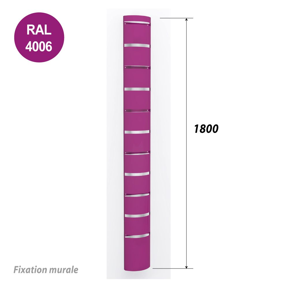 Colonne murale 1800 mm pour tablette ou supports seaux - violet - par 2 (photo)