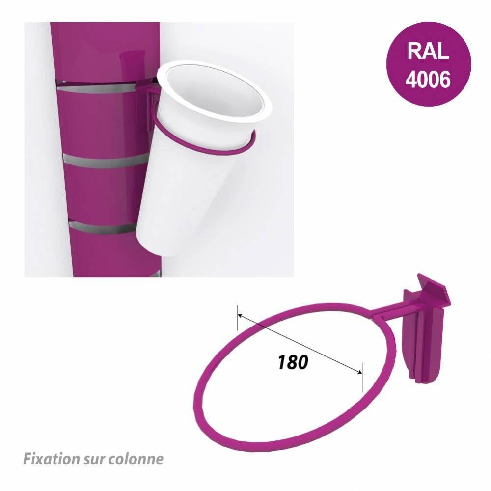 Kit 12 supports seaux + 12 seaux inox pour colonnes 1800 mm - violet (photo)