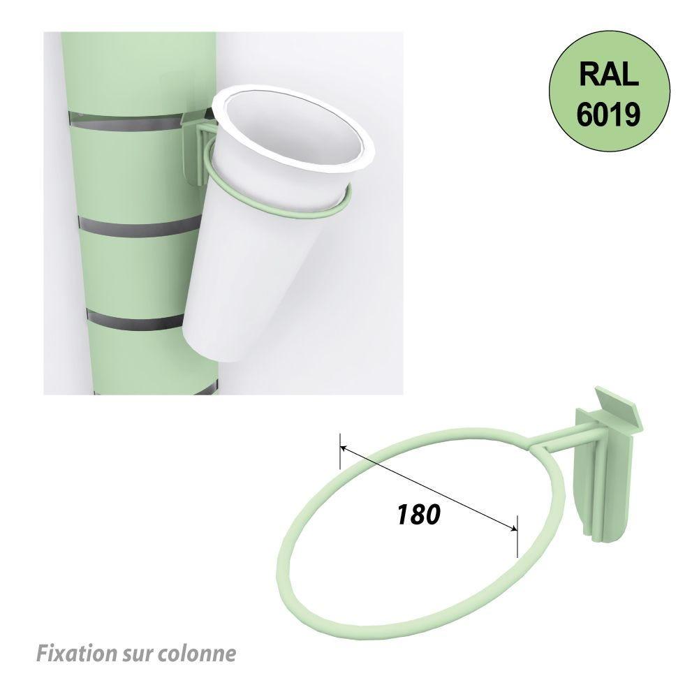 Kit 12 supports seaux + 12 seaux inox fleurs pour colonnes 1800 mm - vert anis (photo)
