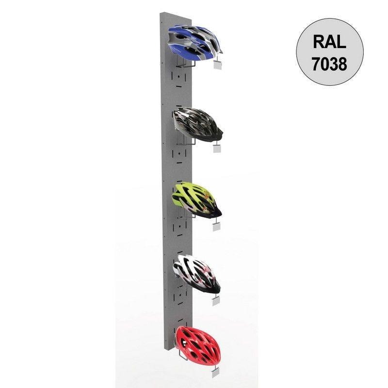 Colonne murale vélo 1800 mm -kit 5 supports casques - gris - par 2 (photo)
