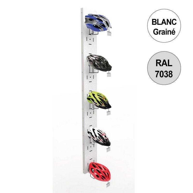 Colonne murale vélo 1800 mm -kit 5 supports casques - blanc - par 2 (photo)