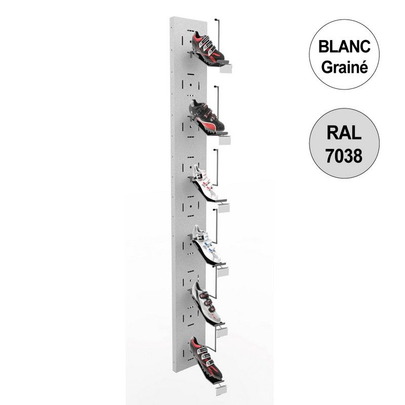 Colonne murale vélo 1800 mm -kit 6 supports chaussures - blanc (photo)