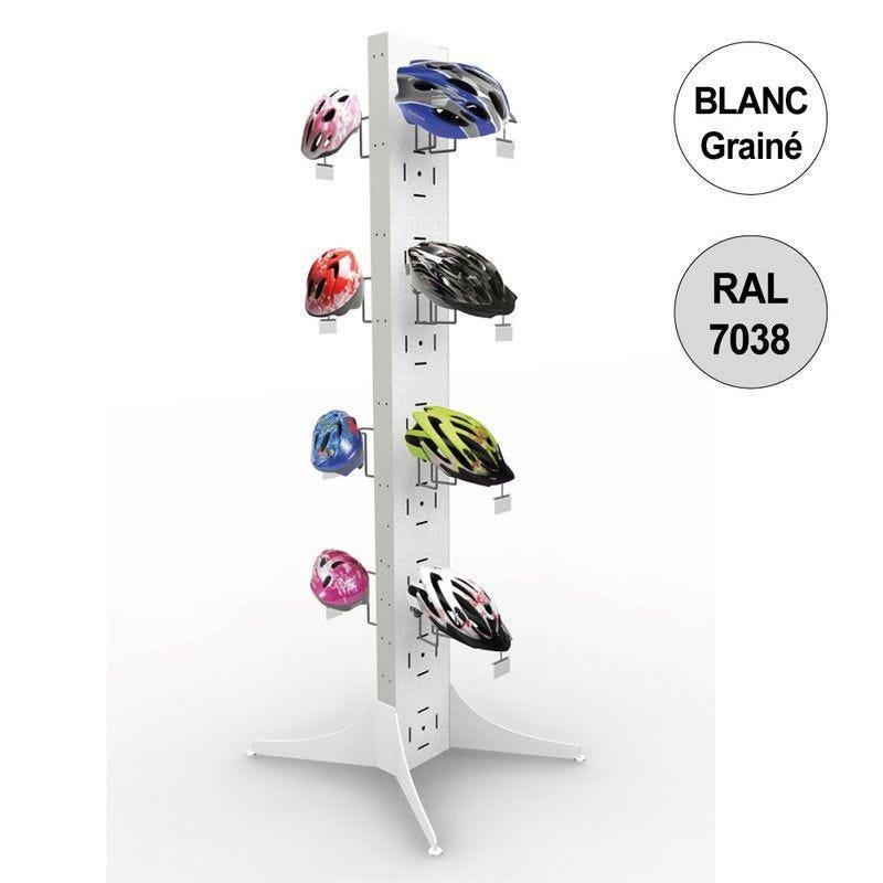 Totem vélo 1800 mm - totem 8 casques - 4 niveaux – blanc + gris - par 2