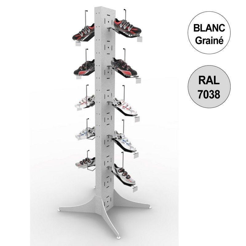 Totem vélo 1800 mm - totem 10 chaussures - 5 niveaux – blanc + gris