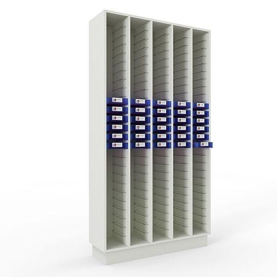 Meuble de stockage pénichier blanc pour 130 péniches - soit 5 colonnes