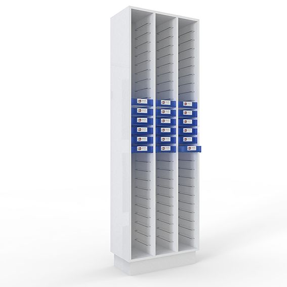 Meuble de stockage pénichier blanc pour 78 péniches - soit 3 colonnes