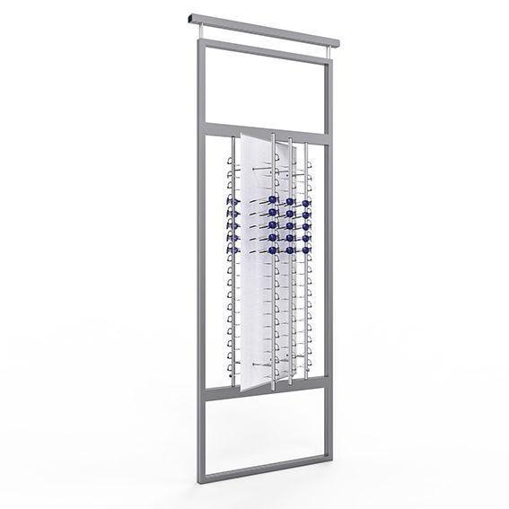 Présentoir TELESCOPE avec un panneau rotatif équipé de 6 colonnes sécurisées