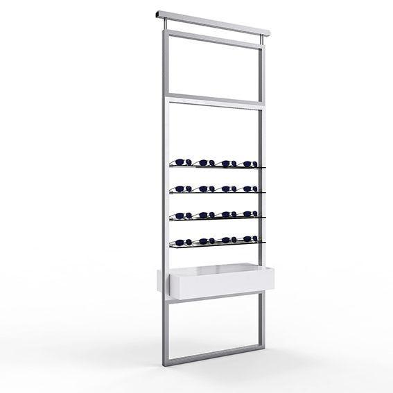 Présentoir TELESCOPE blanc avec 4 étagères en verre et un caisson 1 tiroir