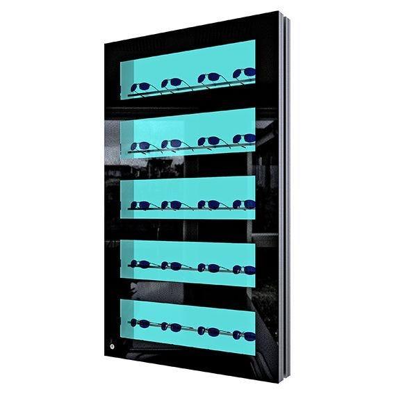 Présentoir showcase noir + porte verrouillable PRESENTA NOVA Led ouvert. droite