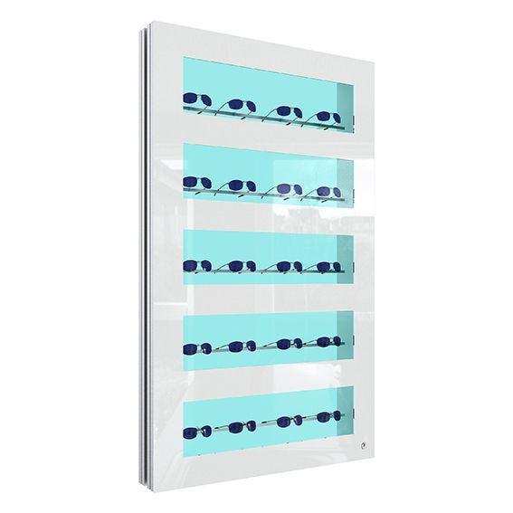 Présentoir showcase blanc + porte verrouillable PRESENTA NOVA Led ouvert. Gauche