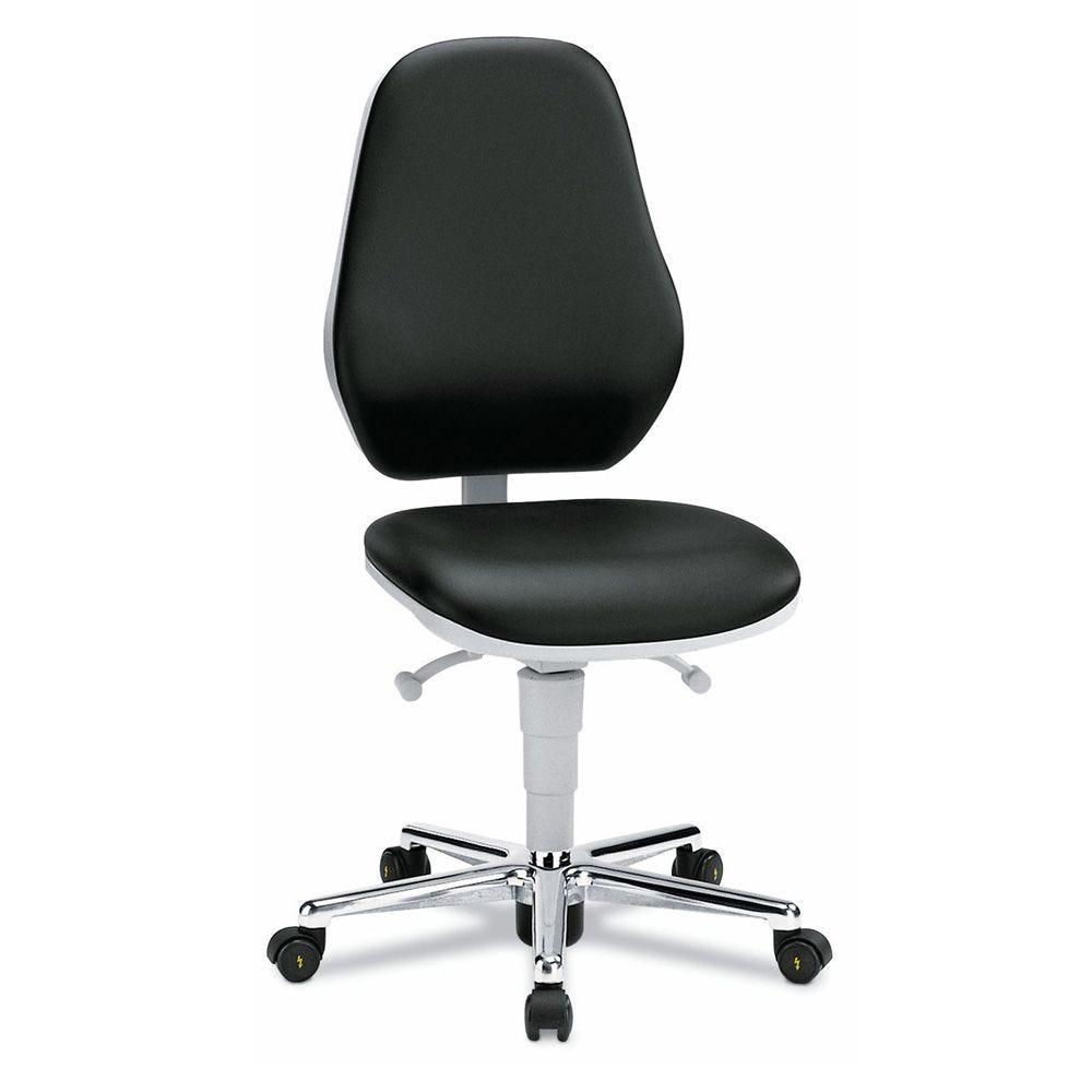 Siège de bureau sur roulettes pour salle blanche en cuir synthétique esd noir (photo)