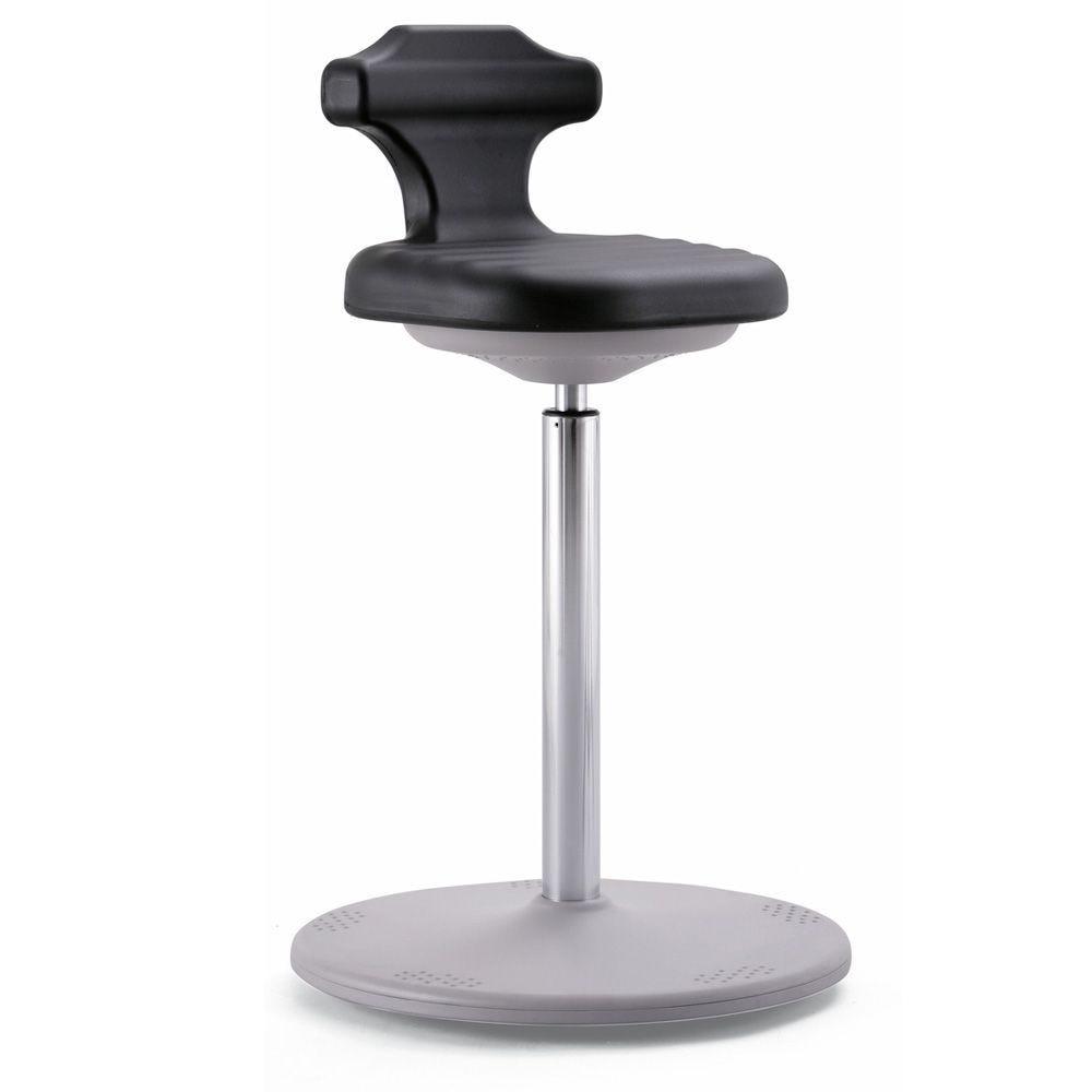 Assis-debout pour laboratoire avec assise inclinable et mousse injectée noir (photo)