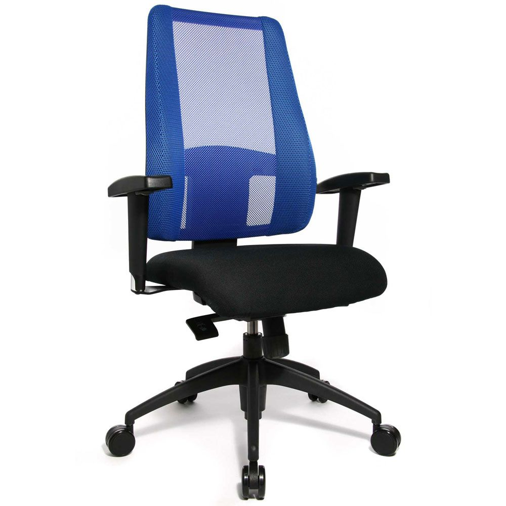 Siège de bureau ergonomique pour femme, avec dossier bleu et assise noir (photo)