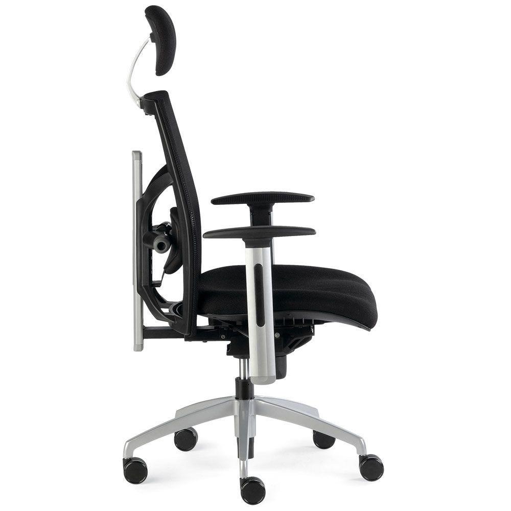 Fauteuil de bureau ergonomique noir avec asssie moulée et appui-tête (photo)
