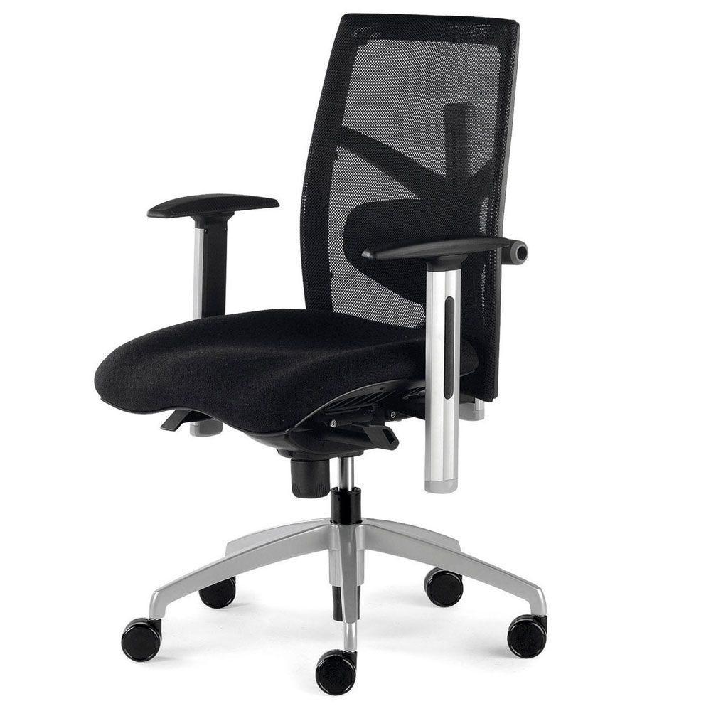 Fauteuil de bureau ergonomique noir avec asssie moulée (photo)