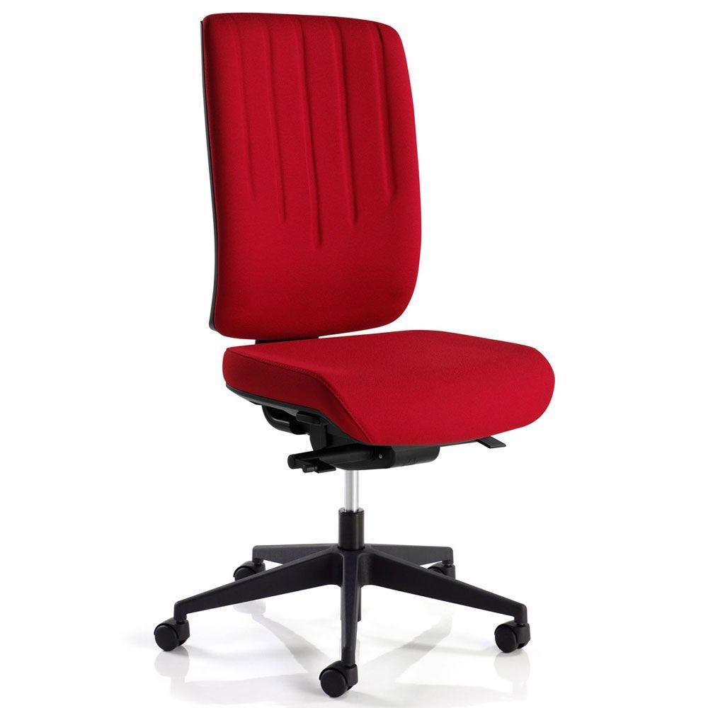 Siège de bureau ergonomique rouge sans accoudoir (photo)