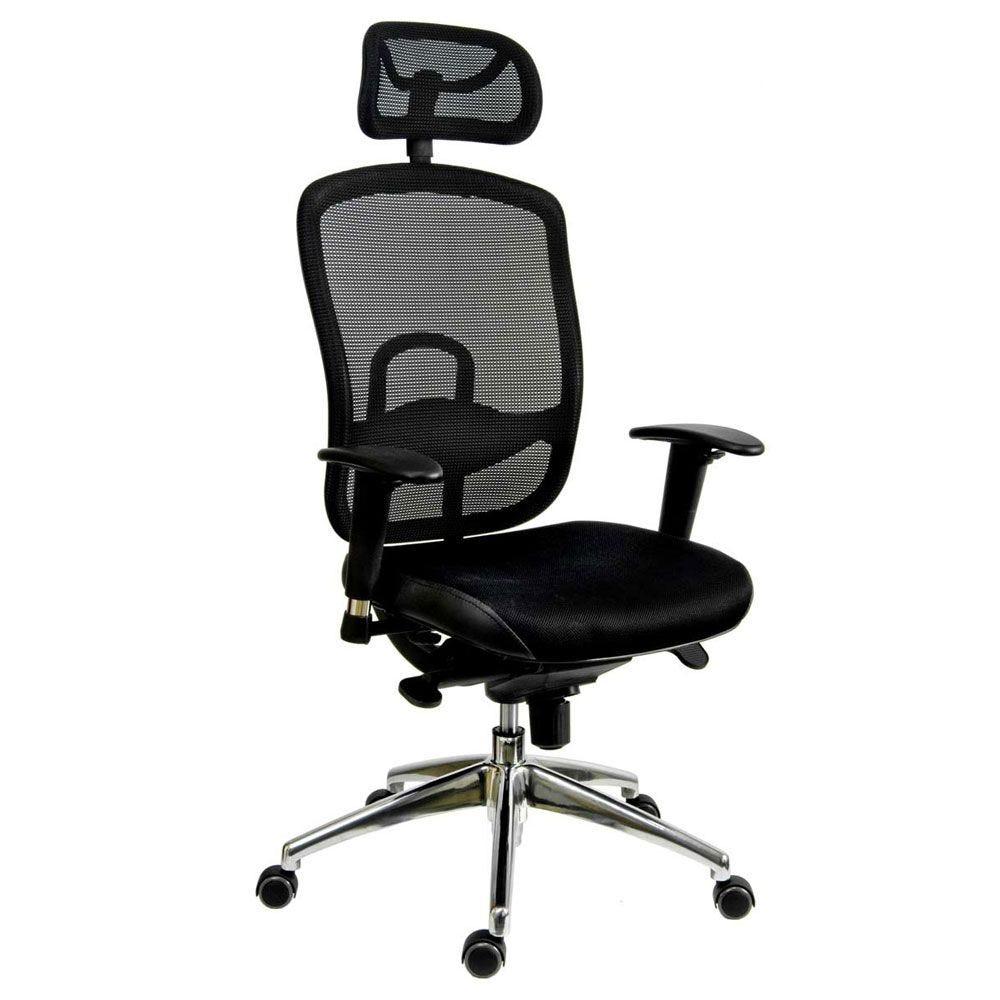 Siege de bureau ergonomique avec tétière cuir et tissu