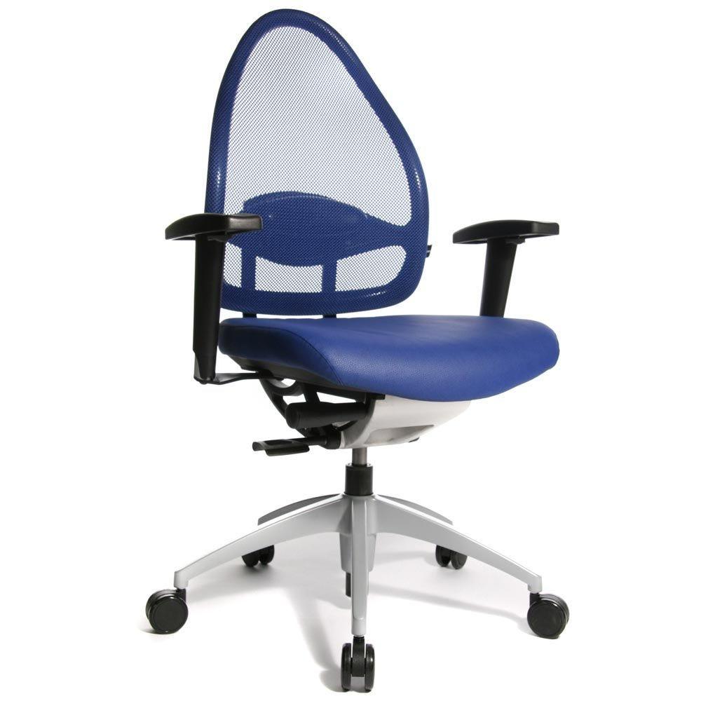 Fauteuil de bureau ergonomique bas dossier bleu (photo)
