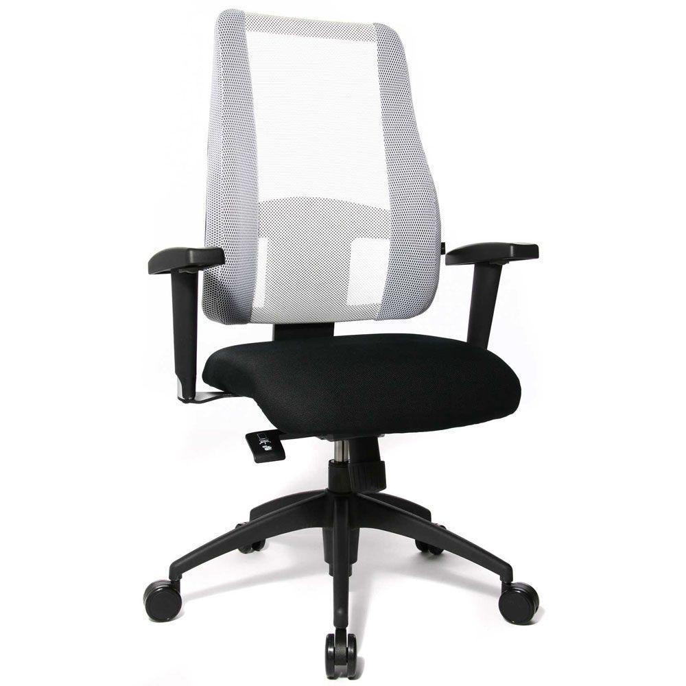 Siège de bureau ergonomique pour femme, avec dossier blanc et assise noir (photo)