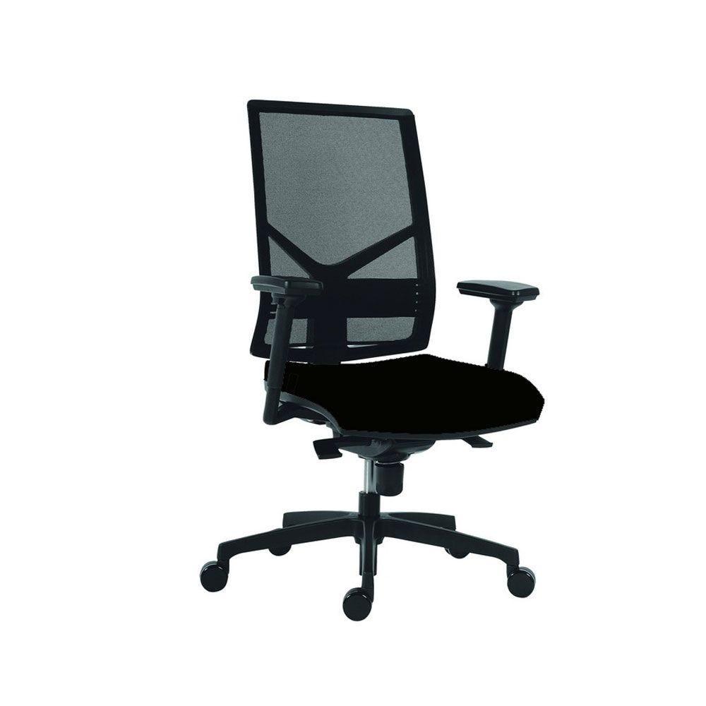 Siège de bureau ergonomique tissu noir et filet noir